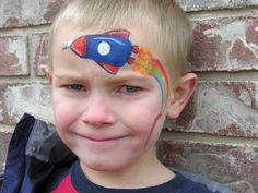 Rocket Ship Face Painting  - The Painted Otter