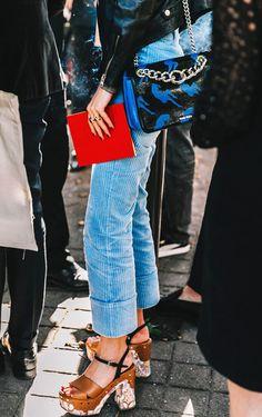 Corduroy pants + platform heels