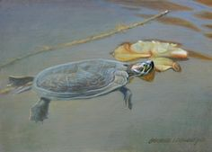 Turtle Pond 5x7, painting by artist George Lockwood