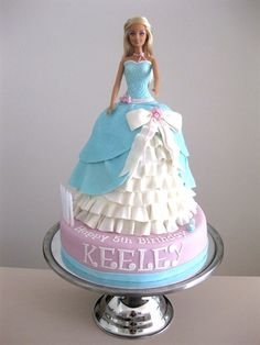 Cinderella Cake @Stephanie Close Lundeby...How crazy! My Keeley is turning 3 and wants a Cinderella/Princess party! I'm making a doll cake.  I searched Cinderella cakes and there is one with her name on it!