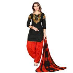 860c7e8e12 Charming Black Designer Embroidered Partywear Glaze Cotton Patiyala Suit  Festival Wear, Party Wear, Suits