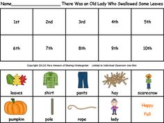 sequencing sheet for There Was an Old Lady Who Swallowed Some Leaves...free!!!