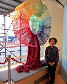 Lion Brand's NY Window Display- Color wheel with yarn! really neat!