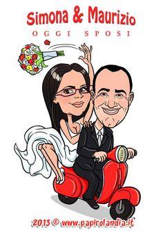Wedding caricature of married couple riding a Vespa Piaggio . Caricatura degli sposi per tableau de mariage - 2013