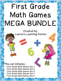 In need of math activities that can be used for a variety of purposes? This MEGA Bundle set includes five sets of math games for a total of over 35 games! NO PREP! Just print and use!These games address a variety of math skills and content for first graders including: addition and subtraction (single digit, double digit with a single digit, fact families, etc.), place value, comparing numbers, fact fluency, geometry, fractions, money, time, data and solving story problems!