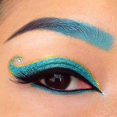 Disney's Princess Jasmine glitter makeup with gradient brows and jewels. Eye Kandy Cosmetics, Urban Decay Eldorado. House of Lashes Tigress.