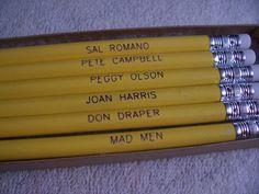 Mad Men Engraved Pencil Set  Don Draper Joan by PencilQuotes, $6.00