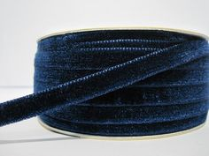 5 yards 3/8 Navy Blue Velvet Ribbon Blue Ribbon by ichimylove
