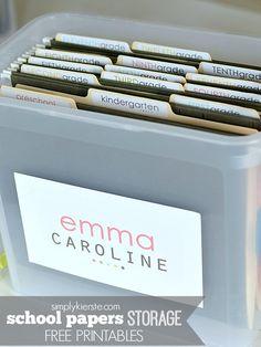 School Papers Storage | FREE PRINTABLES | simplykierste.com