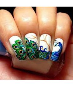 """Just check out the best and amazing looking """"Peacock Nails Designs"""" right from this post! We are sure all the crazy fans of nail art designs will like these . Fancy Nails, Love Nails, Pretty Nails, Easy Nail Art, Cool Nail Art, Henna Motive, Nail Art Inspiration, Peacock Nail Art, Peacock Design"""