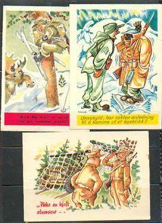 3 militære humorkort av Arne Taraldsen