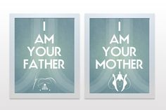 Star Wars Prints I am your father/mother - 11x14  decor wall poster nursery art baby aqua teal blue boy Vader Amidala parents expecting. $40.00, via Etsy.