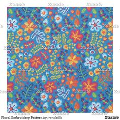 Floral Embroidery Pattern Fabric Bohemian Fabric, Floral Embroidery Patterns, Pattern Fabric, Pigment Ink, Custom Fabric, Crafts To Make, Printing On Fabric, Applique, Quilts