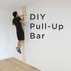 Ben Uyeda shows you how to make your own DIY pull-. Ben Uyeda shows you how to make your own DIY pull-up bar conveniently tucked right against the wall. Find this easy tutorial on RYOBI Nation. Diy Home Gym, Gym Room At Home, Fitness Workouts, At Home Workouts, Trainer Fitness, Workout Routines, Diy Gym Equipment, No Equipment Workout, Fitness Equipment