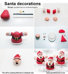 Santa Father Christmas Cupcake Toppers: http://www.goodtoknow.co.uk/recipes/539117/santa-cake-decorations                                                                                                                                                                                 Más