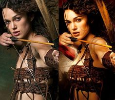 Kiera Knightley goes from an A cup to a C to D cup. Wow those medieval bras must have been better than the modern day Wonderbra.