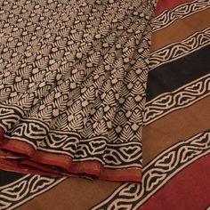 Buy online Bagru Printed Cream & Black Chanderi Silk Cotton Saree With Floral Motifs & Zari Border 10013987