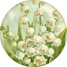 """""""Sweetest of the Flowers"""" ~ 4"""" round lily of the valley graphic from 1908 postcard."""