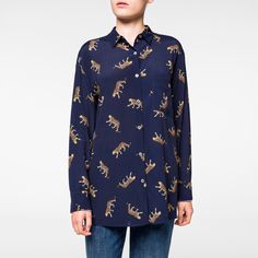 Paul Smith Women's Navy 'Leopard' Pattern Shirt (£155) ❤ liked on Polyvore featuring tops, navy blue top, blue shirt, blue leopard print shirt, long sleeve tops and navy shirt