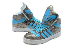 Adidas High Tops for Girls | Jeremy Scott Adidas High Tops Big Tongue Shoes Snake Silver Blue men's ...