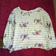 Purple flowers Purple flower top with green stripes American Eagle Outfitters Tops Tees - Long Sleeve