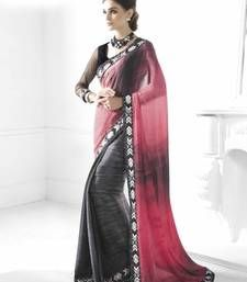Buy Black and grey and red embroidered art_silk saree with blouse party-wear-saree online
