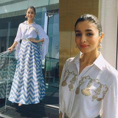 Alia Bhatt in Natasha J, Badrinath Ki Dulhaniy Promotions, MyFashgram Indian Gowns Dresses, Indian Fashion Dresses, Dress Indian Style, Indian Designer Outfits, India Fashion, Indian Outfits, Fashion Outfits, Ethnic Outfits, Style Fashion