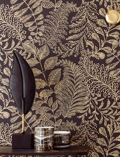 The glorious Art Nouveau era was the inspiration for this stunning leave design with its natural interwoven lines. The matt anthracite base colour . Luxury Wallpaper, Gold Wallpaper, Modern Wallpaper, Art Nouveau, Cloakroom Wallpaper, 1930s House Renovation, Tapete Gold, Color Mate, Fantastic Wallpapers