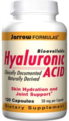 Jarrow Formulas - Hyaluronic Acid, 50 mg, 120 capsules. Hyaluronic Acid provides the fluid matrix for joint lubrication, skin hydration, and skin repair. It is clinically documented to be bioavailable and to improve hydration of the skin. Serving Size. Does Not Contain: wheat, gluten, soybeans, dairy, egg, fish/shellfish, peanuts/treenuts. 2 capsules. Jarrow FORMULAS Hyaluronic Acid is a low-molecular weight preparation derived from biological fermentation. Wheat Gluten, Hyaluronic Acid, Serving Size, Peanuts, Egg, Dairy, Fish, Eggs, Egg As Food