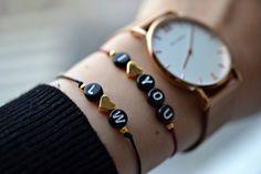 Armbänder - Armband mit Initialen und goldenem Herz - ein Designerstück von bracelens bei DaWanda  #armband #armbänder #schmuck #bracelet #dawanda #handmade #handgemacht #uhr #paulhewitt #liebe #love #herz