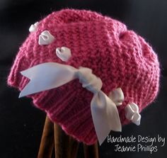 knifty knitter - add a ribbon bow to a hat, cute!