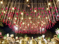 34 Stunning & Magical Ceiling Decor Ideas to Ace your Wedding Decor . Hang From Ceiling Decor, Wedding Ceiling Decorations, Ceiling Hanging, Backdrop Decorations, Indian Wedding Decorations, Flower Decorations, Hanging Ceiling Decorations, Diwali Decorations, Backdrops