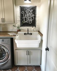 Wash and Dry Sign, Fixer Upper Sign, Fixer Upper farmhouse, rustic, laundry room, laundry room signs, home decor, diy decor, farmhouse sink, storage, laundry room, rustic sign, brick floor, gray door, Decor, Black Laundry Sign, Laundry Sign, Laundry Room Decor, Laundry Room Sign, Wood Sign (aff link)