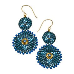 Miguel Ases Blue Jade Double Medallion Drop Earrings ($180) ❤ liked on Polyvore