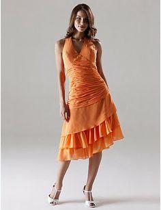 Vestido de Fiesta Naranja de gasa @ Vestidos de Fiesta Baratos