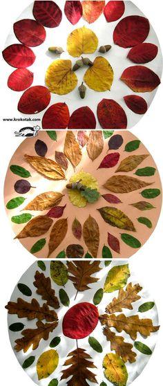 Herbst-Mandalas gelegt aus bunten Naturmaterialien