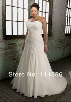 frete grátis atacado ou varejo 2014 plus size vestido de noiva andar  comprimento um  linha chiffon vestidos de noiva em Vestidos de noiva de Roupas & acessórios no AliExpress.com