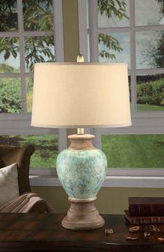 Beige and green hues in a melange pattern infuse the Crestview Collection Leona Table Lamp with visual charm. This lamp boasts ceramic construction. Solid Wood Furniture, Accent Furniture, Bedroom Furniture, Dining Room Table, Table Lamp, Watts Up, Crestview Collection, Coastal Lighting, Fabric Shades