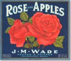 Antique Vintage Art Fruit Crate Label   - Rose Apples Wenatchee Washington