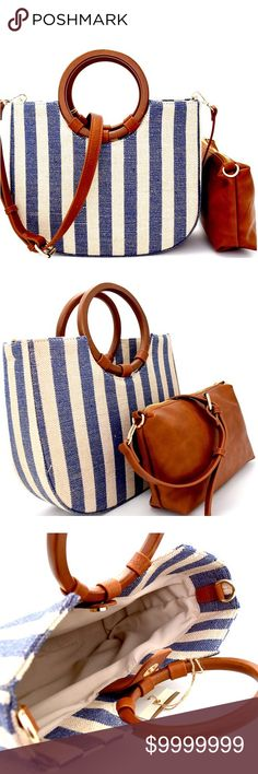 💞NEW💞Wooden Handle 2 In 1 Canvas Satchel 💞Wooden Handle 2 In 1 9dbb57a194024