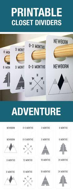 Adventure Theme Printable Closet Dividers - Nursery Decor - Baby Boy - Closet Dividers - Baby Labels - Baby Hanger Dividers