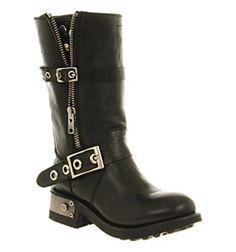 Office GOTH HEAD BLACK LEATHER STUDS Shoes - Womens Knee Boots Shoes - Office Shoes