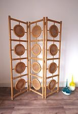 Stylish Bamboo Retro Mid Century 3 Panel Privacy Screen, Room Divider Partition
