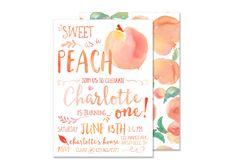 Sweet as a Peach Birthday Invitation DIGITAL FILE Peach Invite Summer Party Watercolor Peachy Keen Party Watercolor Fruit Party Invite by kerrimakes on Etsy https://www.etsy.com/au/listing/268214403/sweet-as-a-peach-birthday-invitation