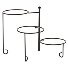 """American Metalcraft (TTRS3) - 16-1/2"""" 3-Tier Wrought Iron Stand w/Curled Feet 