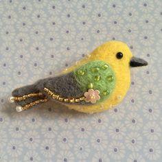 Yellow Birdie Needle-felt Wool Brooch by MeMeForest on Etsy