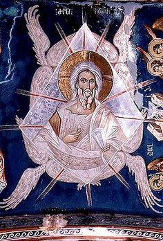 An Icon of Christ the Ancient of Days fresco Ubisi, Georgia