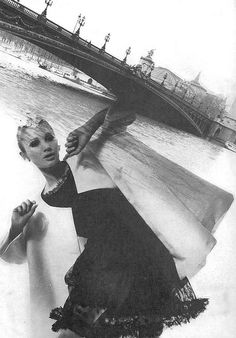 Model Sue Murray is photographed in Paris by David Bailey,wearing Givenchy.UK Vogue,March 1965.