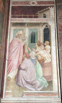 Agnolo Gaddi - Storie di San Nicola, resuscitazione di tre giovani messi in salamoia - affresco - 1385 - Cappella Castellani - Basilica di Santa Croce a Firenze.