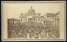 CDV of 1865 Easter mass at St. Peter's. Click on image for 19th century interp. that the Papal troops are gathered for victory. Larger format on Wiki, https://commons.wikimedia.org/wiki/File:Ostermesse_auf_dem_Petersplatz_Rom.jpg